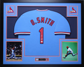 Ozzie Smith Autographed & Framed Blue St. Louis Cardinals Jersey Auto JSA COA