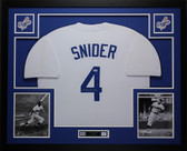 Duke Snider Autographed and Framed White Los Angeles Dodgers Jersey Auto PSA COA