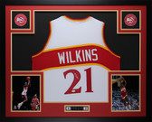 Dominique Wilkins Autographed & Framed White Atlanta Hawks Jersey JSA Certified