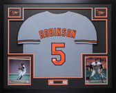 Brooks Robinson Autographed HOF 83 & Framed Gray Baltimore Orioles Jersey Auto JSA Certified