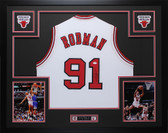 Dennis Rodman Autographed Framed White Chicago Chicago Bulls Jersey Auto JSA COA