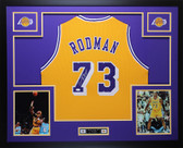 Dennis Rodman Autographed Framed Gold Los Angeles Lakers Jersey Auto JSA COA