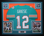 Bob Griese Autographed and Framed Teal Miami Dolphins Jersey Auto JSA COA