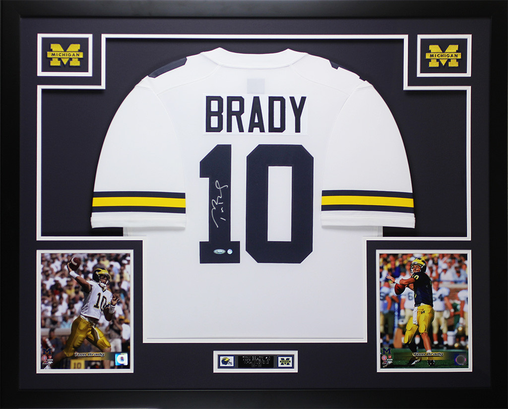 official photos 7e099 0afdc Tom Brady Autographed and Framed White Michigan Jersey