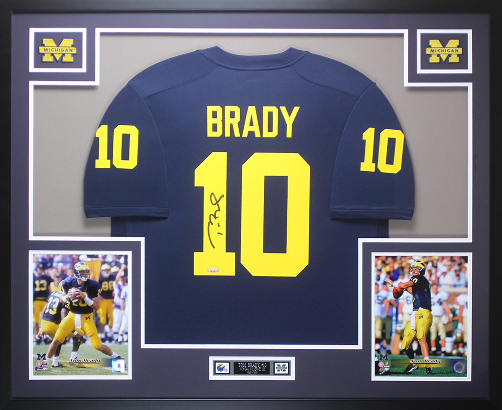 brand new c3efe 18527 Tom Brady Autographed and Framed Navy Michigan Jersey