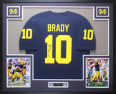 Tom Brady Autographed & Framed Navy Michigan Wolverines Jersey Auto Tristar COA