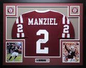 Johnny Manziel Autographed and Framed Maroon Texas A&M Aggies Jersey Auto JSA COA
