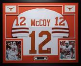 Colt McCoy Autographed Framed White Texas Longhorns Jersey PSA COA
