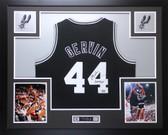 George Gervin Autographed Iceman #44 & Framed Black San Antonio Spurs Jersey JSA