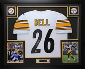 Leveon Bell Autographed & Framed White Pittsburgh Steelers Jersey Auto JSA COA