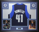 Dirk Nowitzki Autographed & Framed Blue Dallas Mavericks Jersey PSA COA