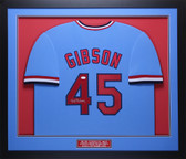 Bob Gibson Autographed and Framed Blue St. Louis Cardinals Jersey Auto JSA COA