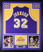 Magic Johnson Autographed & Framed Purple Lakers Jersey PSA COA D7-L