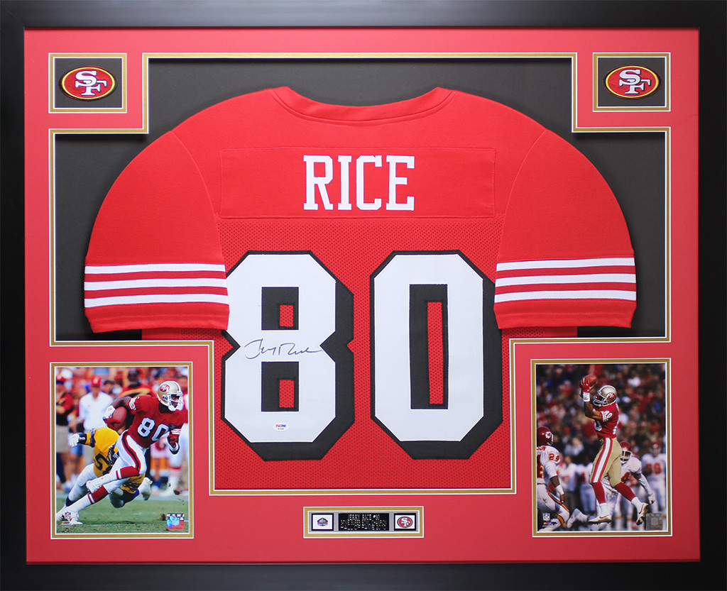 lowest price b463c 7376d Jerry Rice Autographed and Framed Red 49ers Jersey