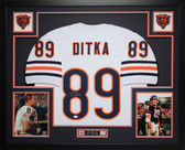Mike Ditka Autographed  and Framed White Chicago Bears Jersey Auto JSA Certified