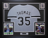 "Frank Thomas Autographed & Framed ""Big Hurt"" Gray Chicago White Sox Jersey JSA COA"