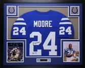 "Lenny Moore Autographed ""HOF 75""& Framed Blue Baltimore Colts Jersey Auto JSA COA"