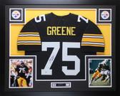 Joe Greene Autographed HOF 87 and Framed Black Pittsburgh Steelers Jersey Beckett COA