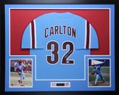 Steve Carlton Autographed & Framed Blue Philadelphia Phillies Jersey Auto JSA COA