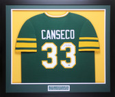 Jose Canseco Autographed & Framed Green Oakland A's Jersey Auto Leaf COA