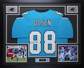 Greg Olsen Autographed & Framed Blue Carolina Panthers Jersey Auto JSA COA