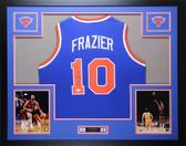 Walt Frazier Autographed & Framed Blue New York Knicks Jersey Auto JSA COA