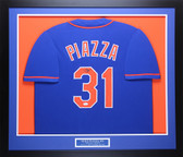 Mike Piazza Autographed and Framed Blue New York Mets Jersey Auto JSA COA