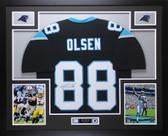 Greg Olsen Autographed & Framed Black Carolina Panthers Jersey Auto JSA COA