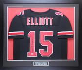 Ezekiel Elliott Autographed & Framed Black Ohio State Buckeyes Jersey JSA COA