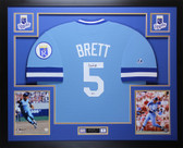 George Brett Autographed & Framed Blue Kansas City Royals Jersey Beckett COA