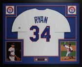 Nolan Ryan Autographed and Framed White Texas Rangers Jersey Auto Nolan Ryan Holo COA