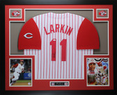 Barry Larkin Autographed and Framed White Pinstriped Cincinnati Reds Jersey Auto JSA COA