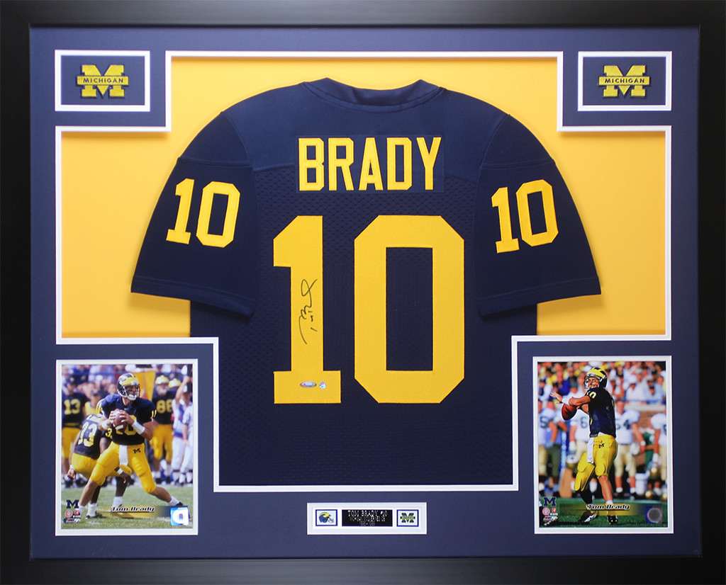 Tom Brady Autographed and Framed Blue Michigan Jersey