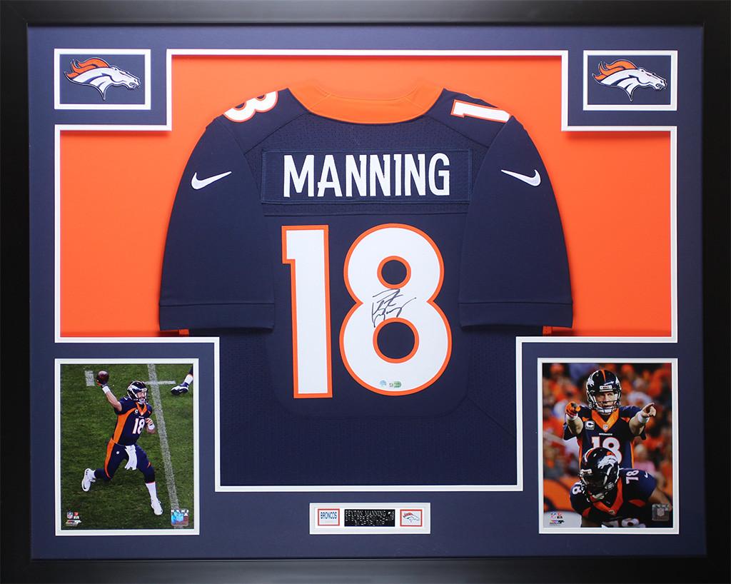 7cc2398ae Peyton Manning Autographed   Framed Navy Denver Broncos Jersey Steiner COA. Loading  zoom