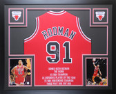 Dennis Rodman Autographed Framed Red Chicago Chicago Bulls Jersey Auto JSA COA