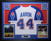 Hank Aaron Autographed & Framed White Atlanta Braves Auto JSA COA