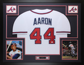 Hank Aaron Autographed & Framed White Atlanta Braves Auto JSA Certification