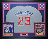 Ryne Sandberg Autographed and Framed Gray Chicago Cubs HOF 05 Jersey Auto JSA COA