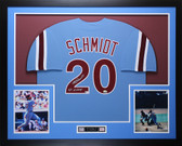 Mike Schmidt Autographed 80 WS CHAMPS & Framed Philadelphia Phillies Jersey Fanatics  COA