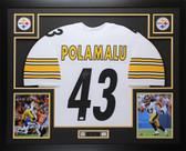 Troy Polamalu Autographed & Framed White Pittsburgh Steelers Jersey Auto JSA COA