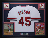 Bob Gibson Autographed and Framed White St. Louis Cardinals Jersey Auto JSA Certified