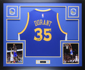 Kevin Durant Autographed & Framed Blue Golden State Warriors Jersey Auto Fanatics COA