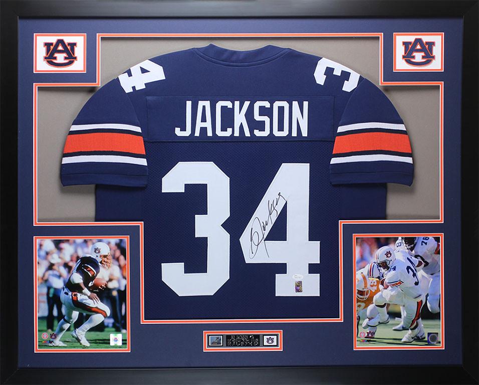 best website d9982 461b9 Bo Jackson Autographed and Framed Navy Auburn Jersey