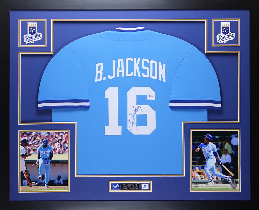 sale retailer f4849 ce2d9 Bo Jackson Autographed and Framed Blue Royals Jersey
