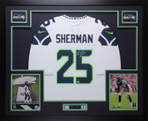 Richard Sherman Autographed & Framed White Seattle Seahawks Jersey MCS COA