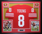 Steve Young Autographed and Framed Red San Francisco 49ers Jersey Auto JSA COA