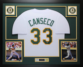 Jose Canseco Autographed & Framed White Oakland A's Jersey Auto Leaf COA