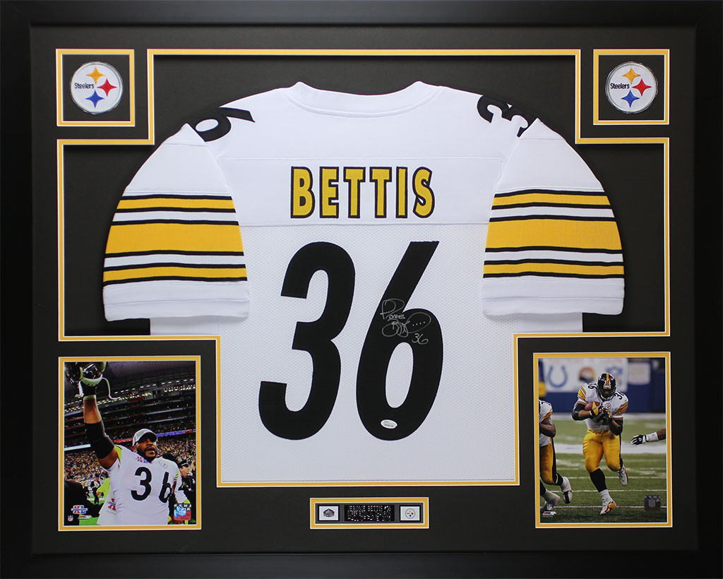promo code 5deec db298 Jerome Bettis Autographed and Framed White Steelers Jersey