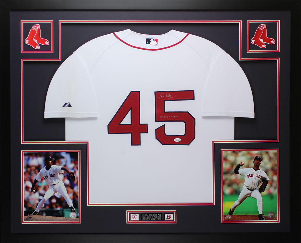 premium selection f3e72 d2840 Pedro Martinez Autographed and Framed White Red Sox Jersey