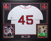 Pedro Martinez Autographed and Framed White Boston Red Sox Jersey Auto JSA COA